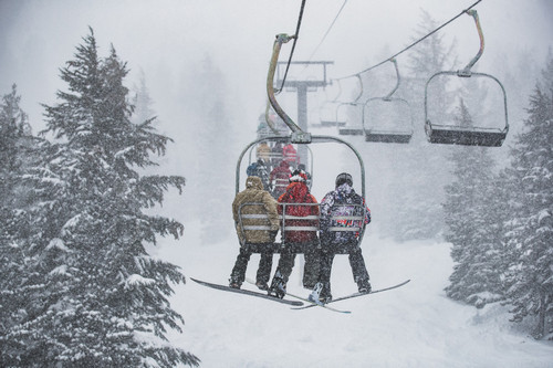 A white out hits Mammoth Mountain.