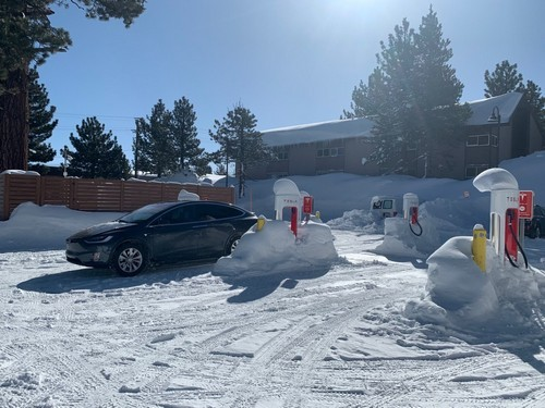The Tesla Supercharging station at Mammoth Mountain, CA.