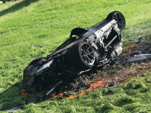 The charred remains of the Rimac electric hypercar after Hammond crashed during a hill climb event.