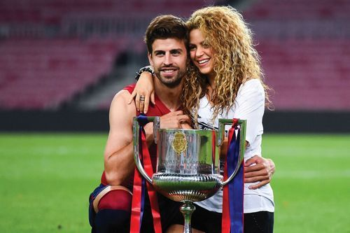 Pique and his longtime partner, pop superstar Shakira, celebrate Pique and Barcelona's victory in the 2015 Copa del Rey final.