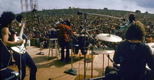 Santana on stage at the original 1969 event