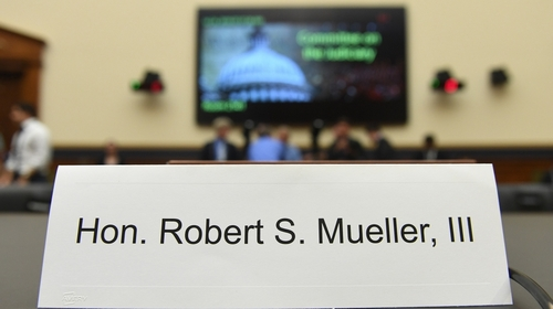 A name card for Former Special Prosecutor Robert Mueller is placed at a table before he testifies in Congress on July 24, 2019, in Washington, DC. Mueller is expected to testify about his two-year rep