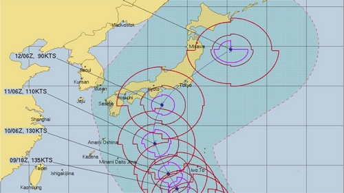 Extremely Typhoon Hagibis heads for Japan