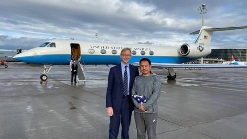 U. S. special representative during Iran, Brian Hook position with Xiyue Wang near Zurich